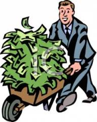 A_smiling_businessman_pushing_a_money_filled_wheelbarrow_100804-133888-967009