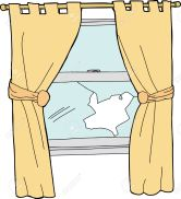 Broken glass window with yellow curtains cartoon