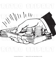 royalty-free-black-and-white-retro-vector-clip-art-of-a-persons-hand-holding-lots-of-cash-and-coins-by-bestvector-1965